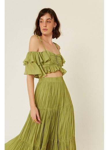 Rue Askılı Volanlı Kısa Bluz Yeşil